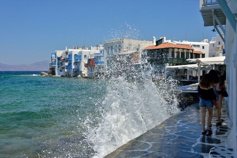 一点威尼斯沿海岸区视图有风雨如磐的海的 免版税图库摄影