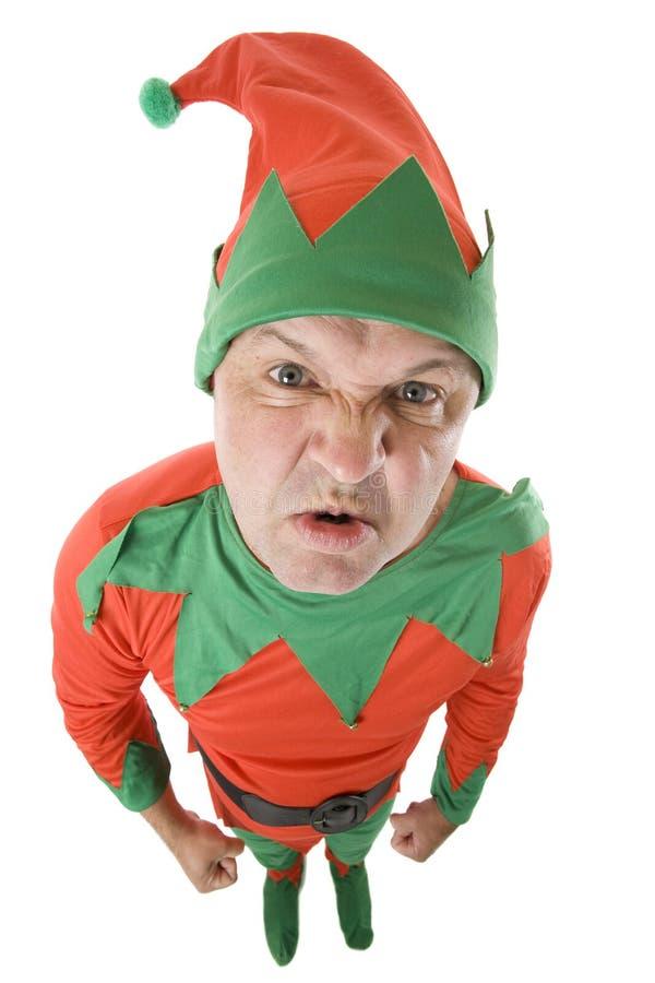 一点恼怒的圣诞节矮子 库存照片