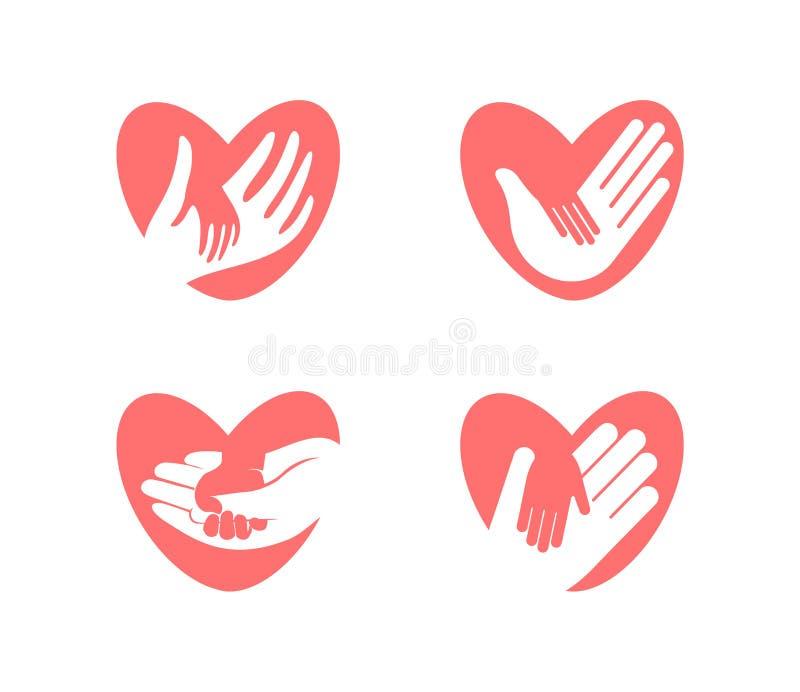 一点手在心脏剪影,传染媒介象集合的一臂之力上 慈善、举行、帮助和关心公司商标模板 平面 向量例证
