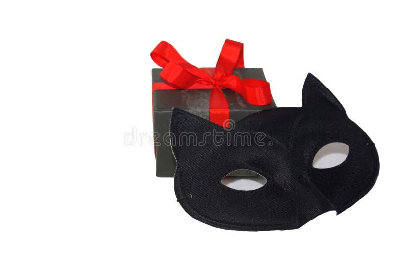 一点有明亮的红色丝带和神奇眼睛猫面具的逗人喜爱的礼物盒,隔绝在白色背景 库存照片