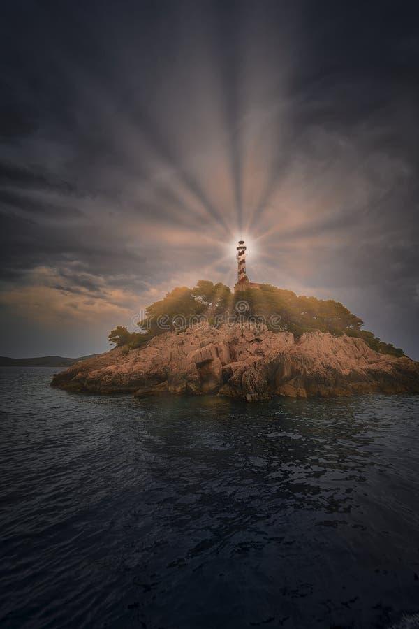 有灯塔的小岛 科纳蒂国家公园 克罗地亚 库存图片