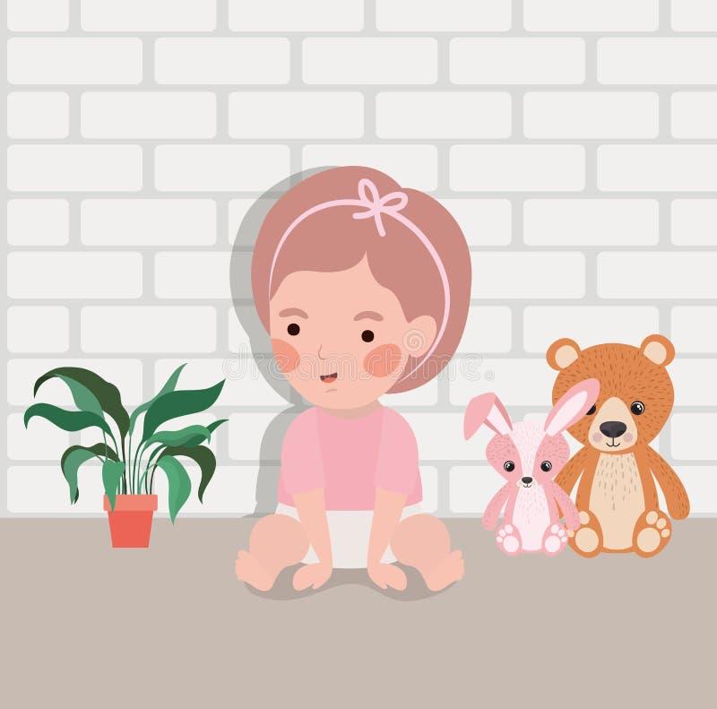 一点有被充塞的玩具字符的女婴 皇族释放例证
