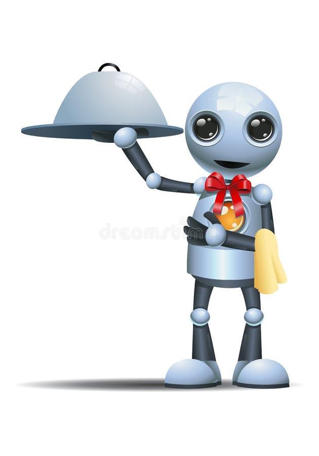 一点机器人仆人举行金属盘子 库存例证