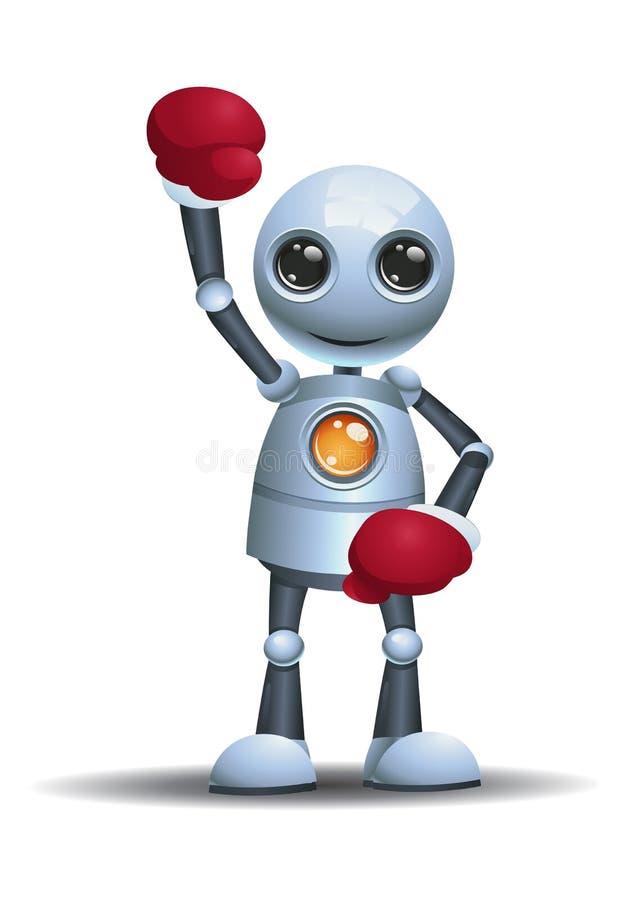 一点机器人准备好对把装箱的佩带的拳击手套 库存例证