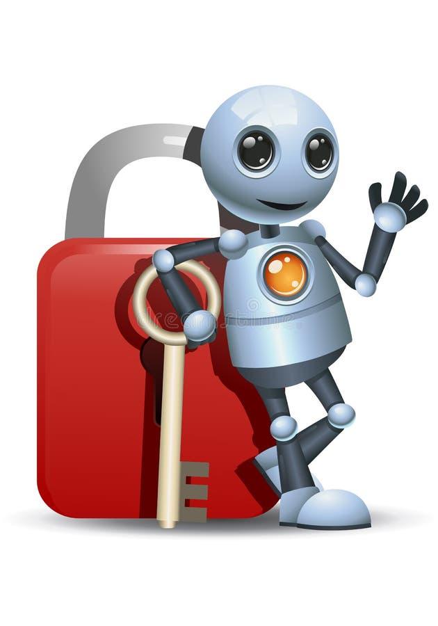 一点机器人在安全锁倾斜  皇族释放例证