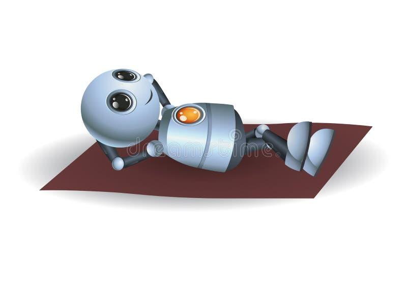 一点机器人放松的放置在床垫 库存例证