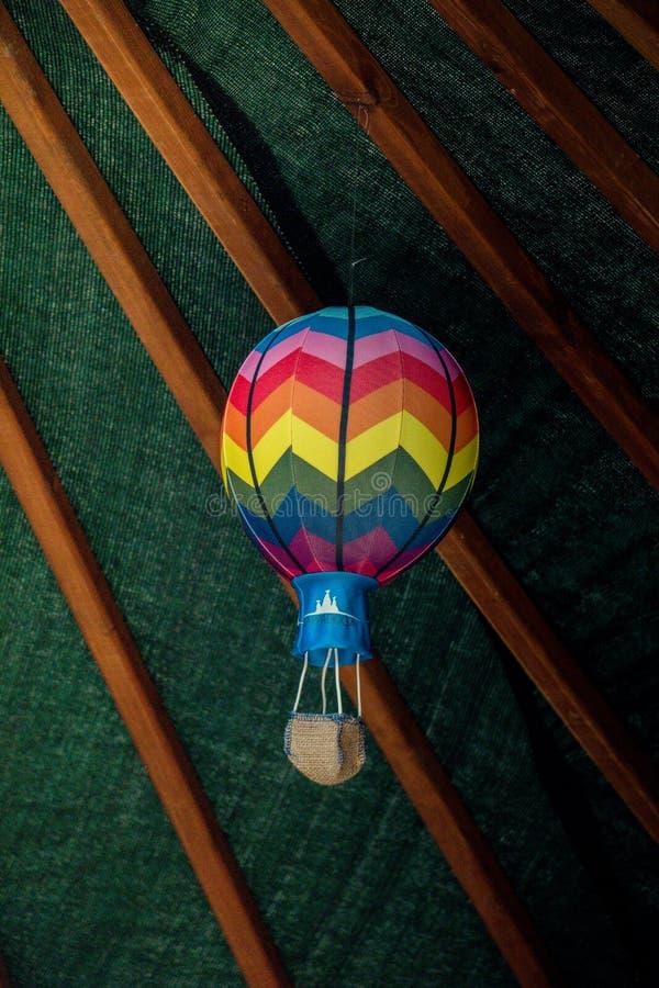 一点模型五颜六色的热空气气球 库存照片