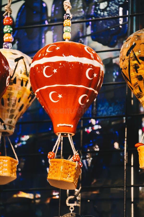 一点模型五颜六色的热空气气球 库存图片