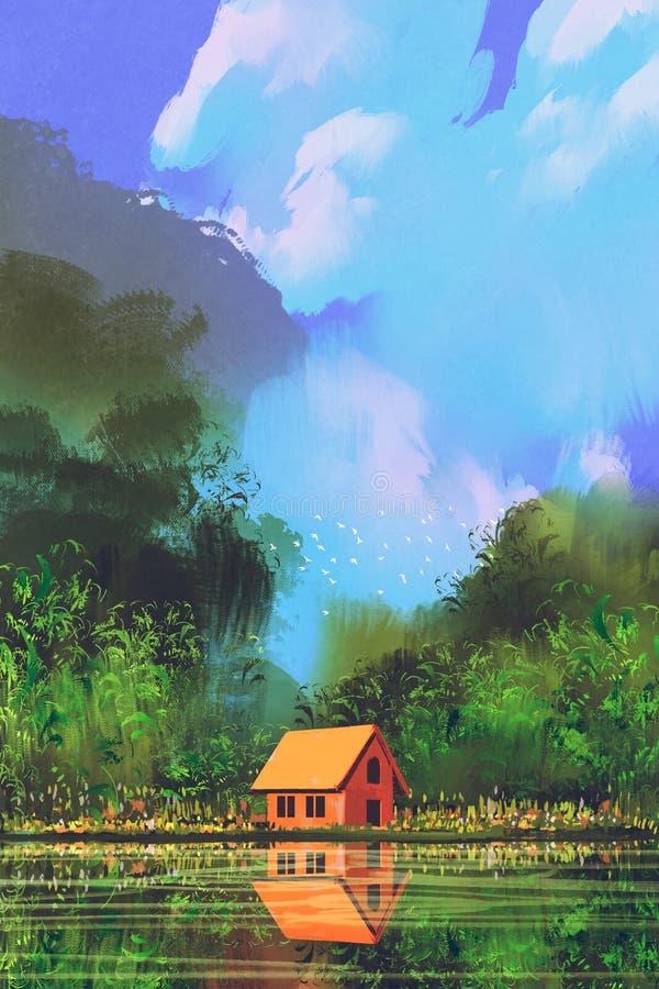 一点橙色房子在森林里在蓝天下 向量例证