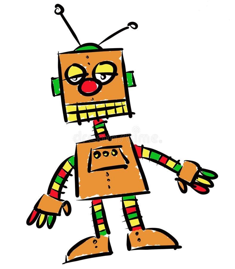 一点橙色雷鬼摇摆乐机器人 皇族释放例证
