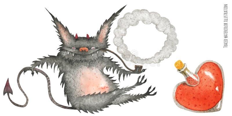 一点毛茸的抽烟的恶魔和爱Poution 库存例证