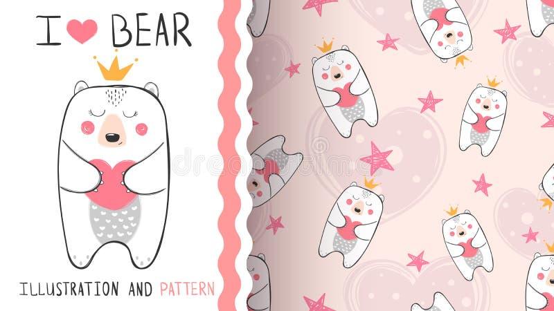 一点熊样式公主-无缝的 向量例证