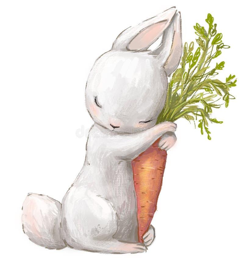 一点白色野兔用红萝卜 向量例证