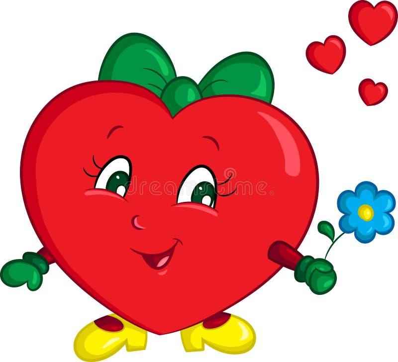 一点红色女孩心脏的彩色插图,当一朵蓝色花,美妙地被上色,为儿童图书或华伦泰卡片 皇族释放例证