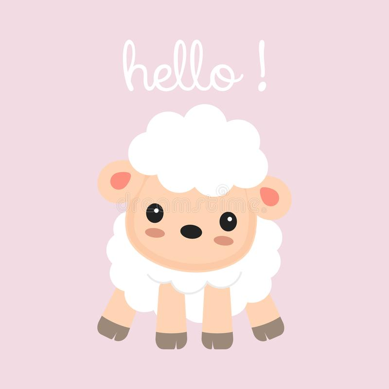 一点绵羊动画片问好 皇族释放例证