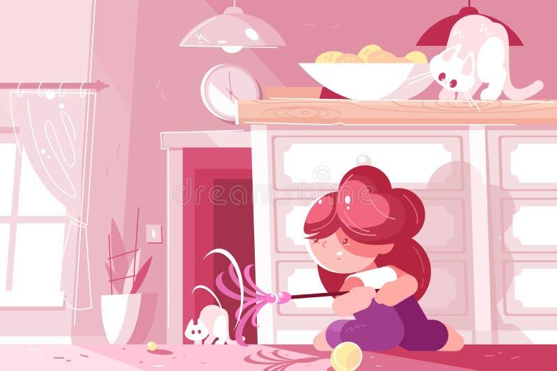 一点获得的少女使用与猫和乐趣 向量例证
