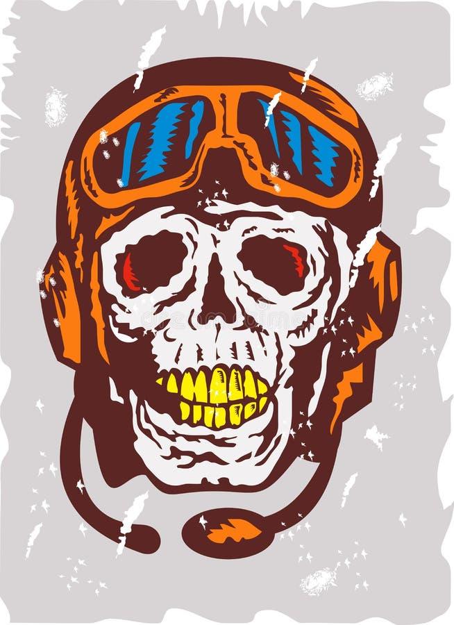 一点表面grunge飞行员头骨 皇族释放例证