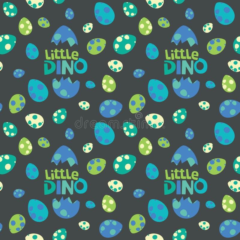 一点迪诺字法用在黑暗的背景无缝的样式传染媒介例证的五颜六色的被察觉的恐龙蛋 皇族释放例证