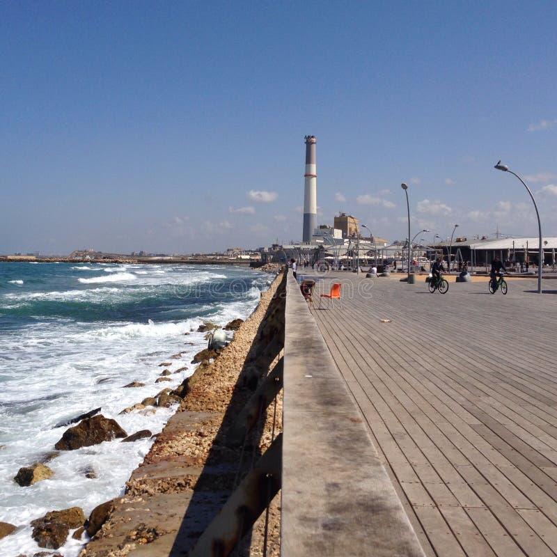 一点透视,沿海岸区散步 免版税库存图片