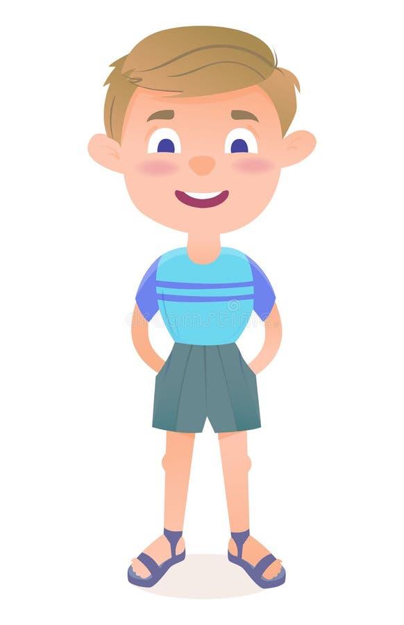 一点逗人喜爱动画片男孩微笑 库存例证