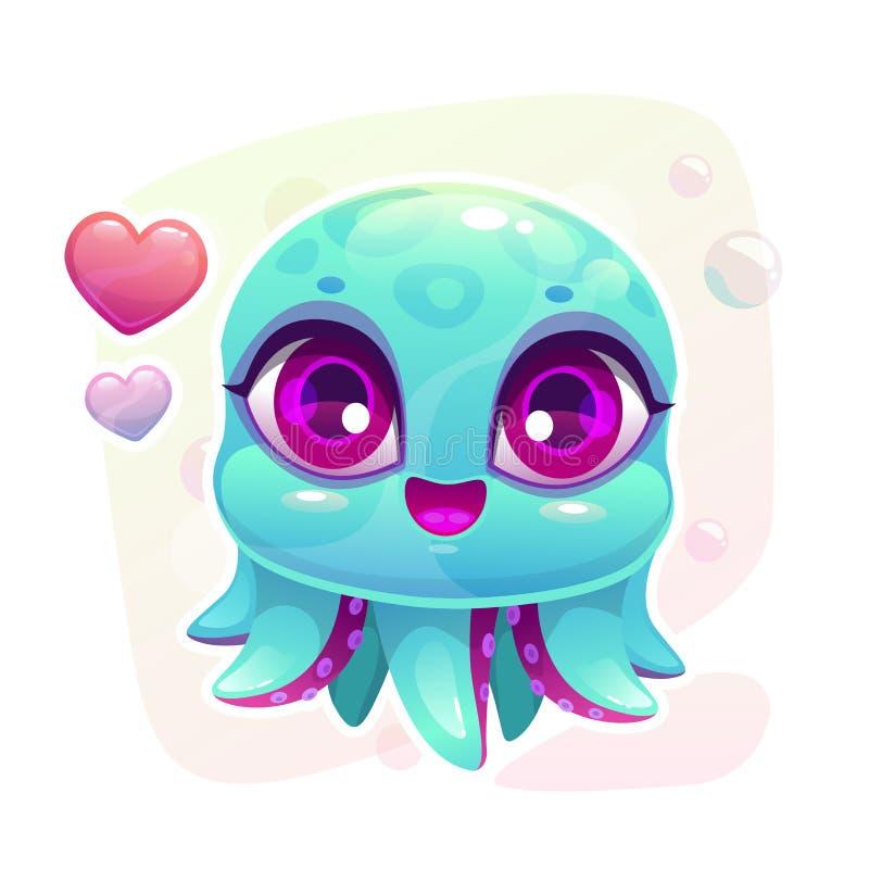 一点逗人喜爱的动画片婴孩章鱼 向量例证