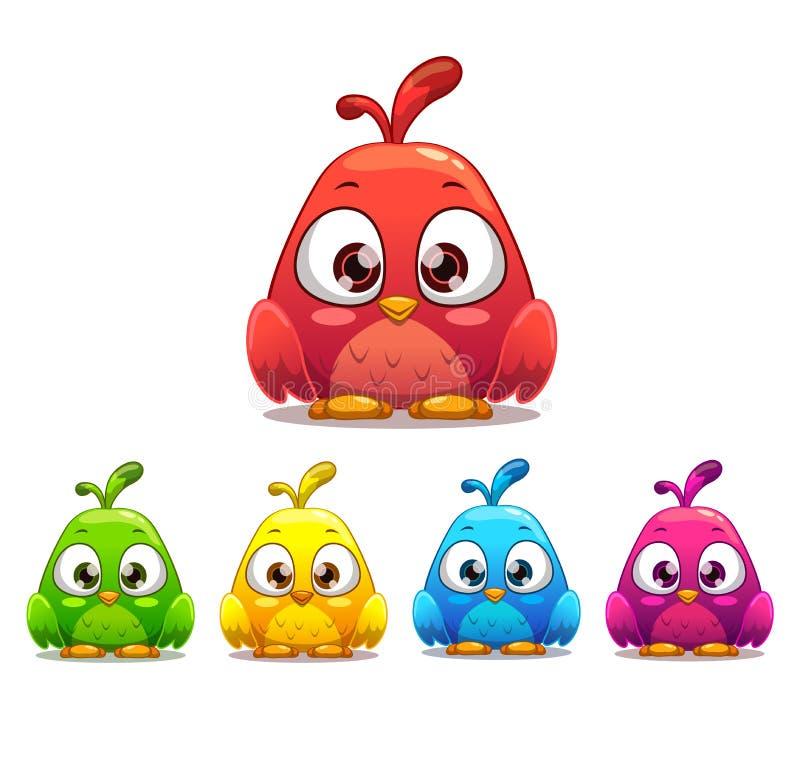 一点逗人喜爱的动画片鸟,五颜六色的变形 向量例证