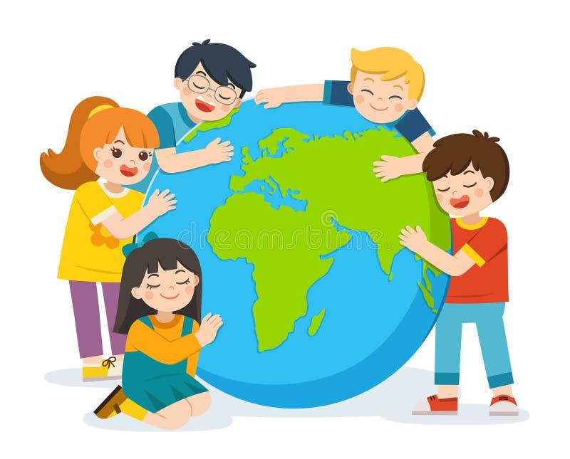 一点逗人喜爱的男孩和女孩拥抱在白色背景的行星地球 向量例证