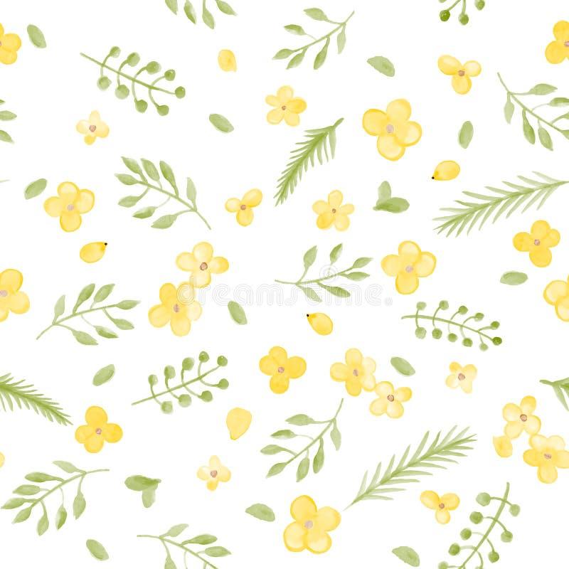 一点逗人喜爱的水彩花和叶子无缝的样式 向量例证