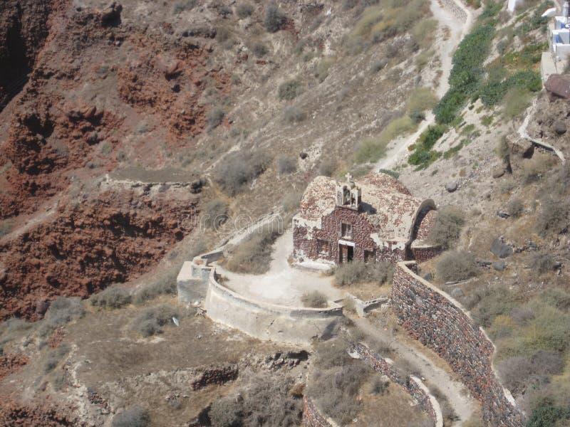 一点遗弃教会在圣托里尼,希腊 库存照片