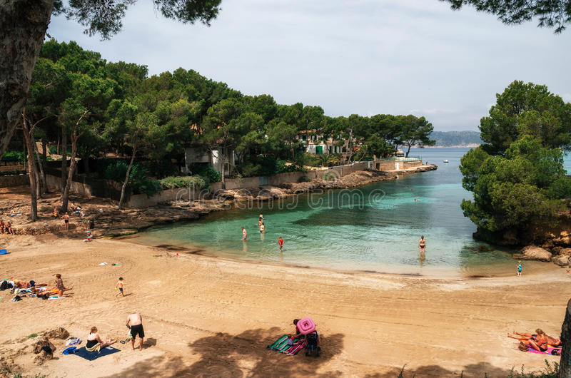 一点Pellicer海滩在圣诞老人Ponsa 舒适海湾,马略卡 库存照片