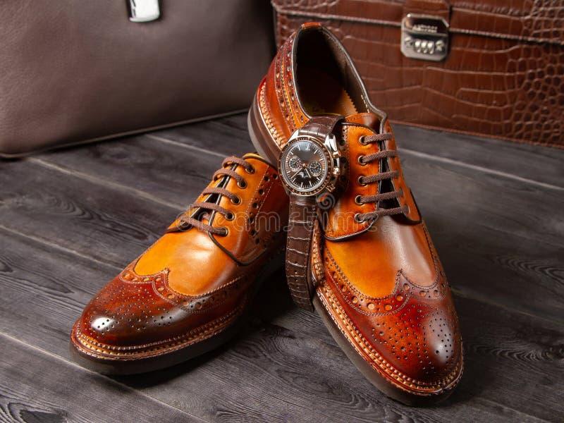 一片浅褐色的树荫的经典人的鞋子以人的皮革公文包为背景的 免版税库存图片