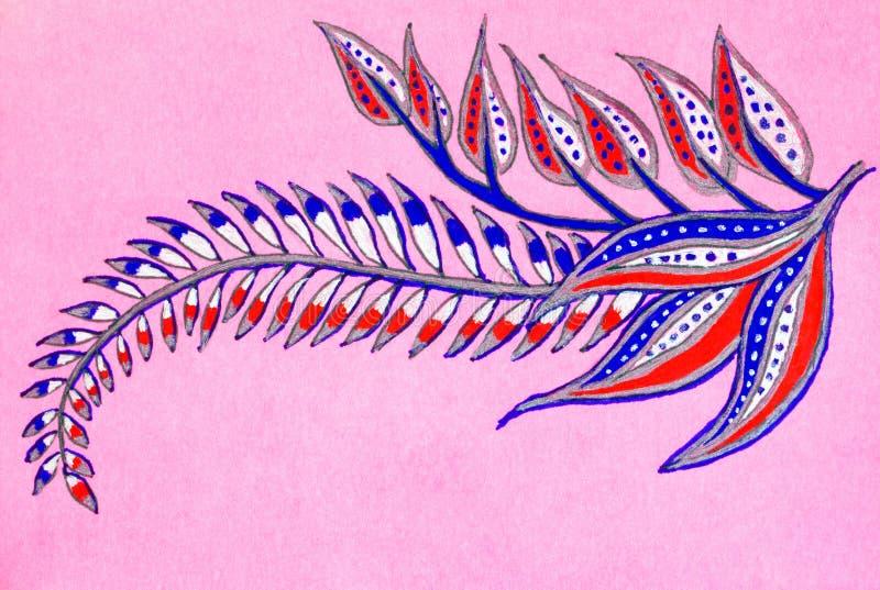 一片羽毛似五颜六色的叶子的手图画 向量例证