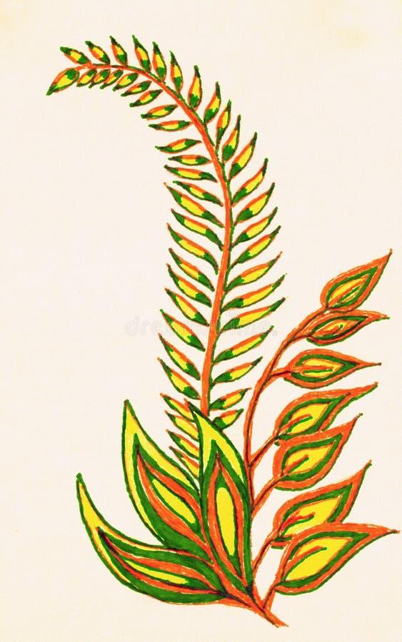 一片羽毛似五颜六色的叶子的手图画 库存例证