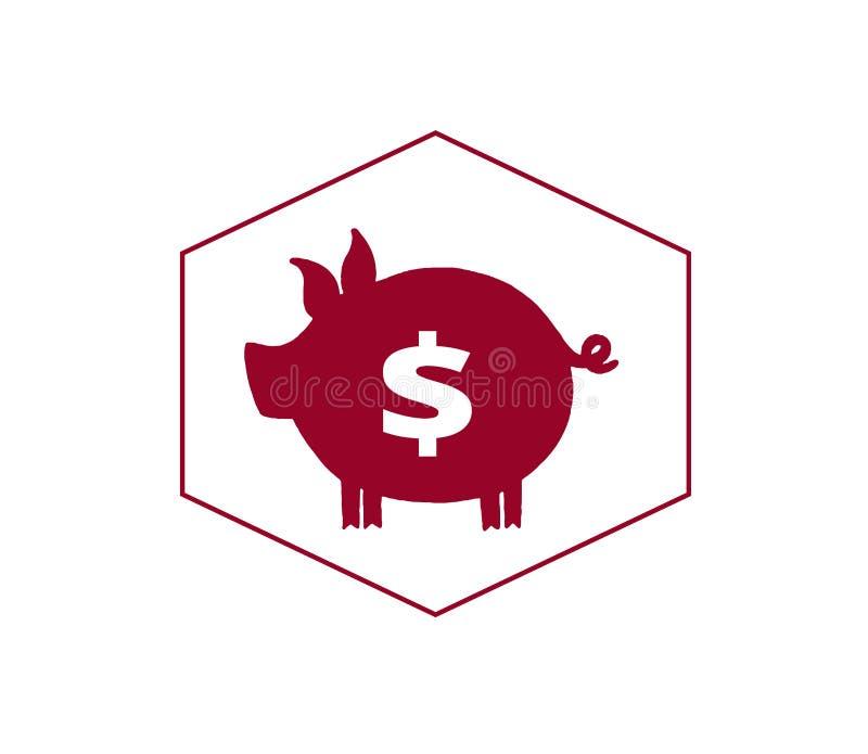 一猪和美元的剪影 网上事务-平的传染媒介象 库存例证