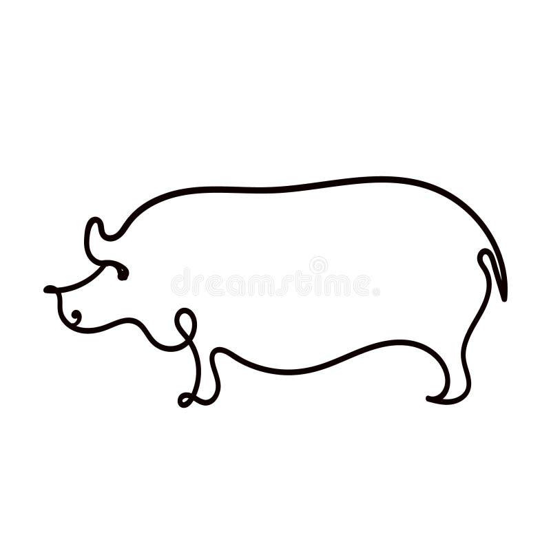 一猪线描  皇族释放例证