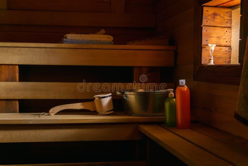 一现代俄国banya的内部 免版税库存图片