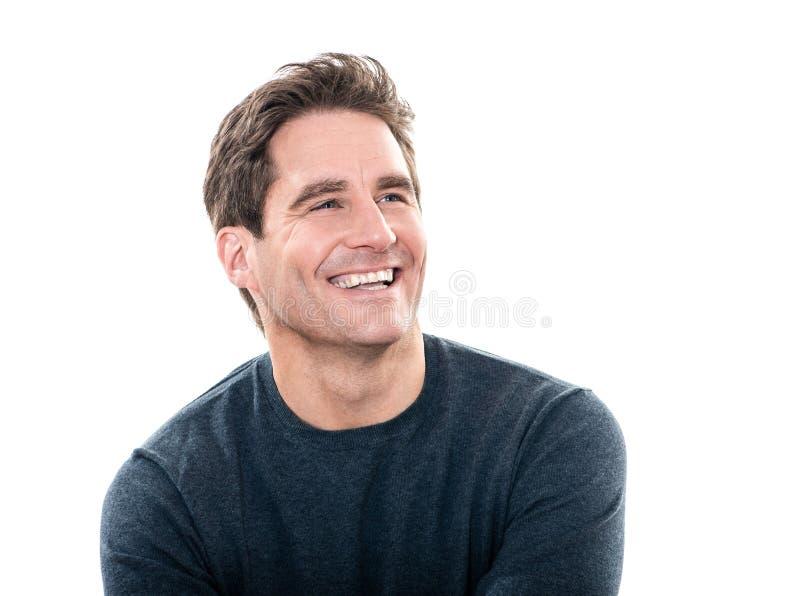 成熟英俊的人笑的画象 免版税图库摄影