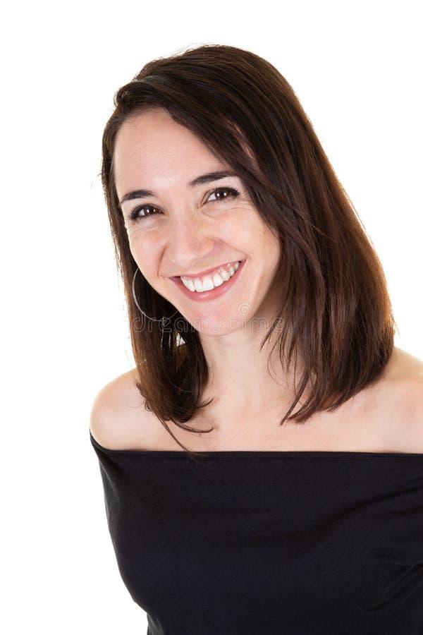 一白种人深色的模型在企业概念演播室射击微笑和愉快 库存图片