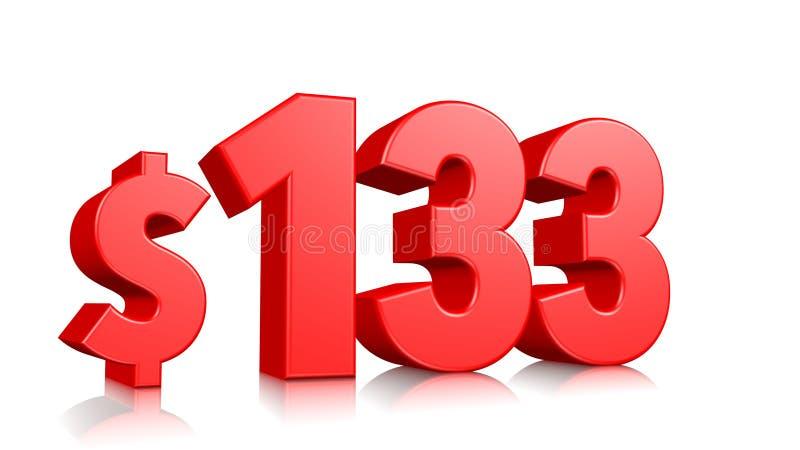 133$一百三十三个价格标志 红色文本3d回报与在白色背景的美元的符号 库存例证