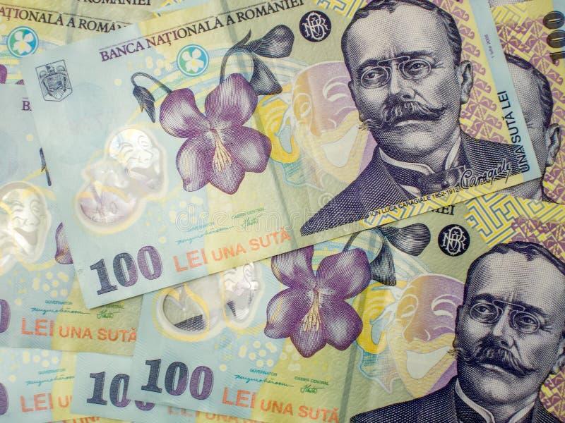 一百个罗马尼亚人货币列伊罗恩概念许多钞票  库存照片