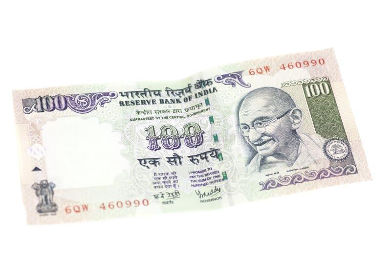 一百卢比笔记(印地安货币) 免版税库存图片