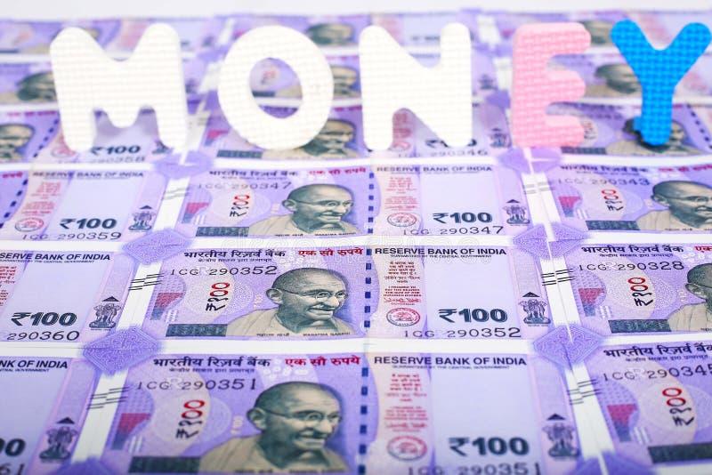 一百新的印度货币 库存图片
