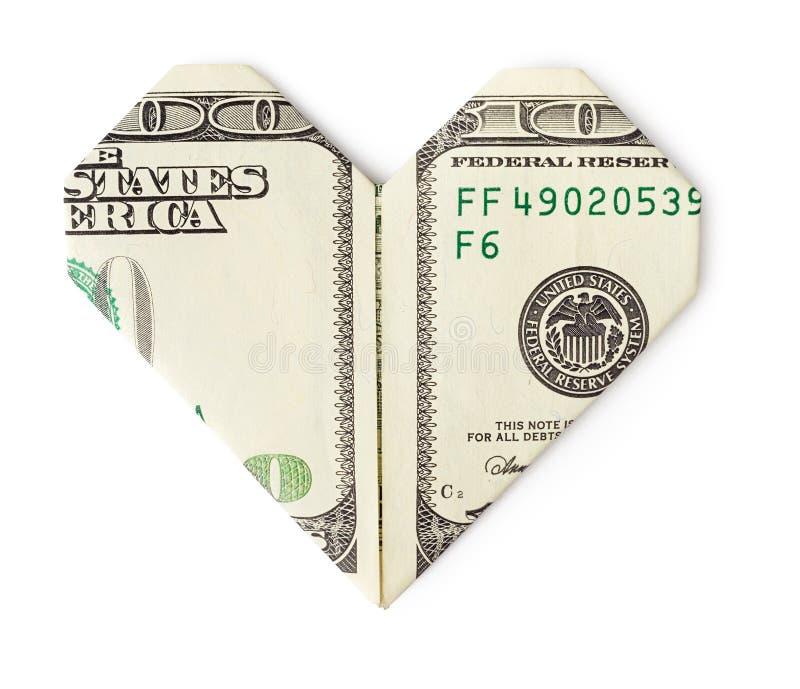 一百美元折叠了入被隔绝的心脏 库存照片