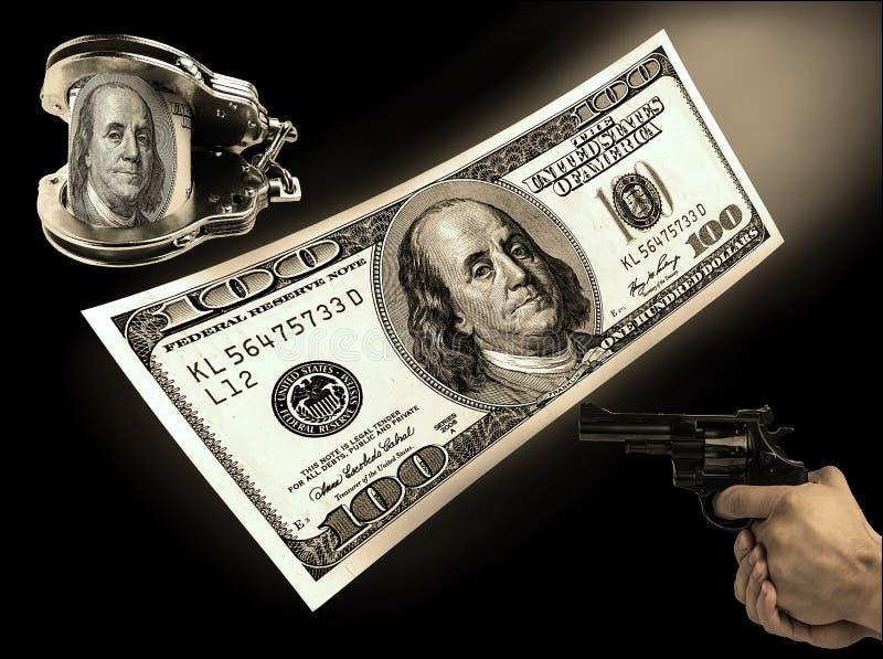 一百美元票据、手铐和枪河 概念罪行 免版税库存照片