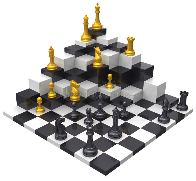 一盘象棋胜利3D挑战 向量例证