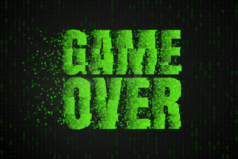 一盘象棋 在电子游戏屏幕上的文本 赌博传染媒介例证 库存例证