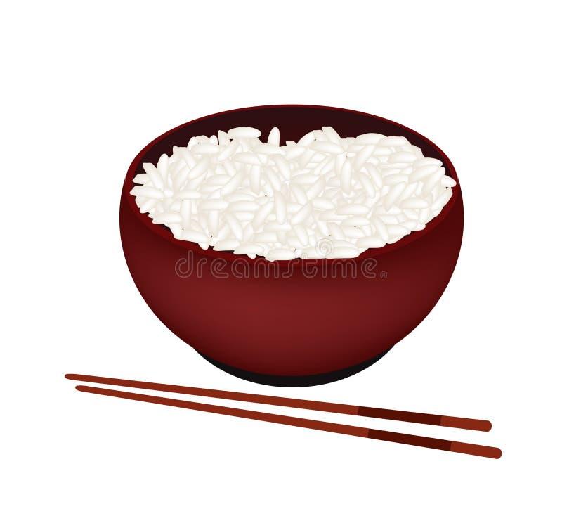 一碗在白色背景的白米 库存例证