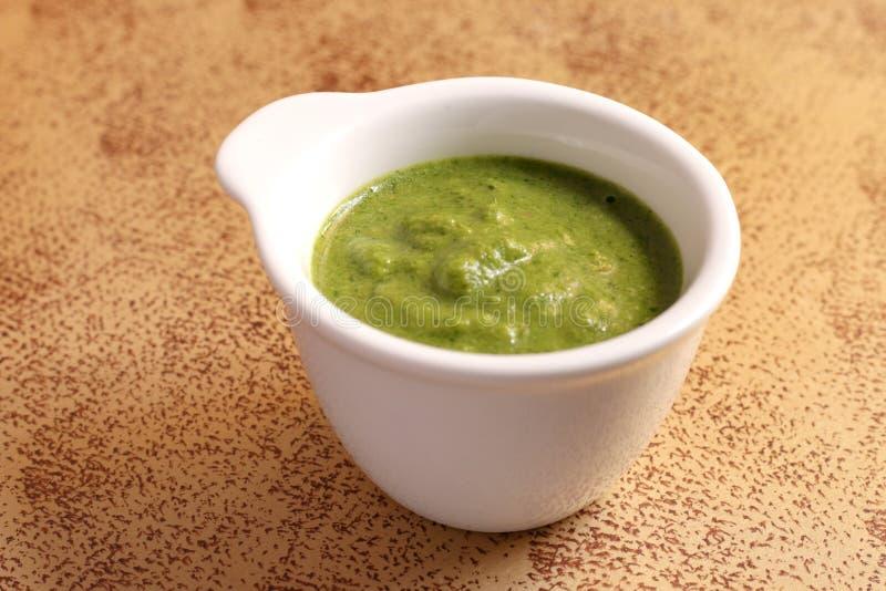 一碗辣绿色酸辣调味品 免版税图库摄影