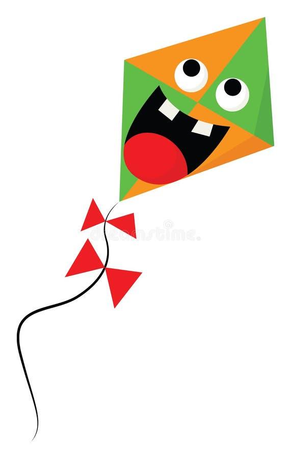一种害怕的橙色和绿色彩色卡通风筝矢量或彩色插图 库存例证