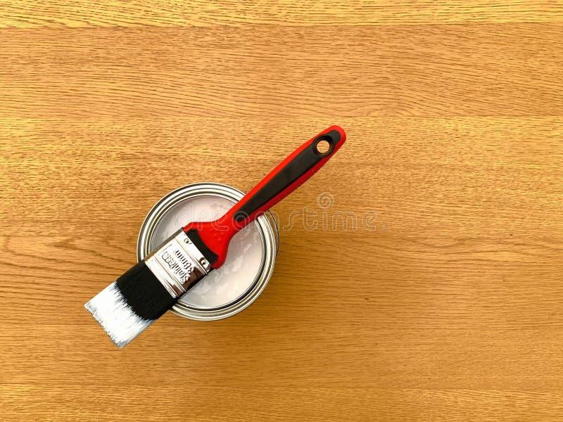 一种带漆锡的红色油漆刷 免版税库存图片